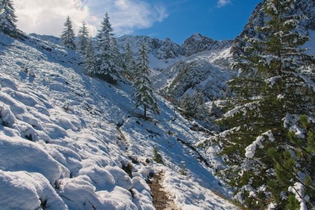 Schmaler Pfad im Schnee